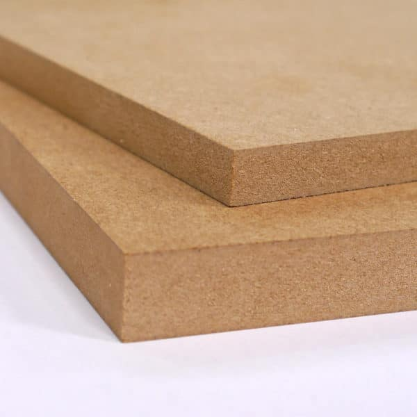 A composed picture showing two different thicknesses of Standard MDF cut to size. The top on is 12mm the bottom one is 18mm MDF