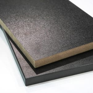 Two pieces of Black Melamine Board Cut to Size to demonstrate the product and finish. One is finished with black edging, the other is not
