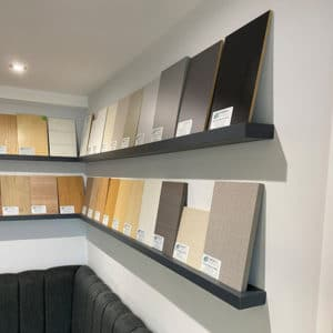 Four Melamine Floating Shelves displaying Melamine Faced MDF cut to size samples