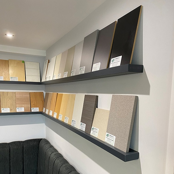 Four Melamine Floating Shelves displaying Melamine Faced MDF cut to size samples