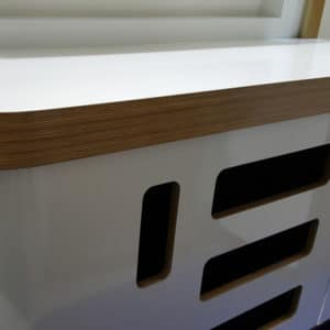 Bespoke display units made from Birch Plywood finished in a gloss white laminate