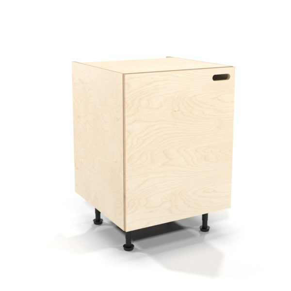 rendering of a 600mm birch plywood kitchen base unit with overlay door