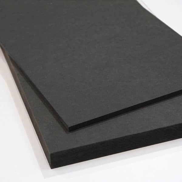 Two piece of Black MDF cut to size online stacked on top of each other