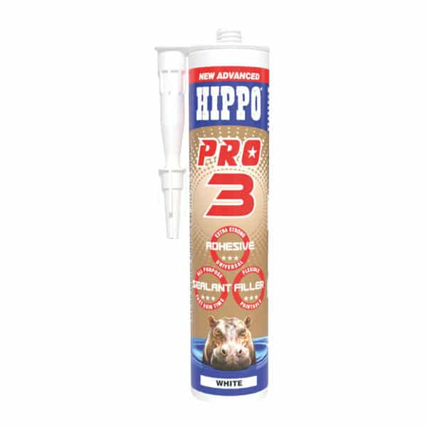 A photo of a tube of hippo pro 3 adhesive, sealant and filler