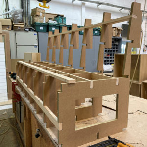 A Bespoke MDF bench seat for kitchen dining area on a workbench