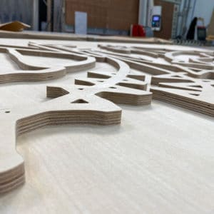 Bespoke wall art cut from Birch-Ply on a CNC router