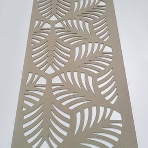 Fret cut MDF screen panel with palm leaf cut out pattern